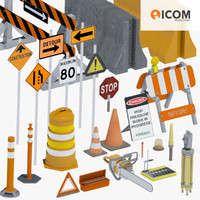 road construction tool equipment 3d 3ds