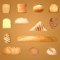3d model bread - toast slices