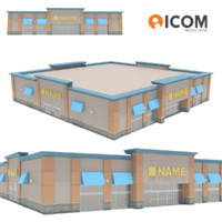 commercial retail building 3d model
