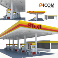 3d shell gas station model