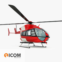 emergency eurocopter ec145 helicopter 3d model