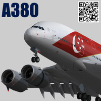 airbus a380 singapore airlines 3d model