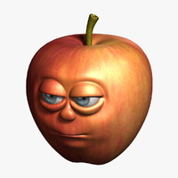 3d apple cartoon 2 model