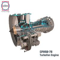 cfm56-7b engine turbofan half-cutaway 3d c4d