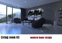 3d model of modern interior living room