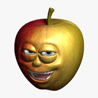 3d apple cartoon 3 model