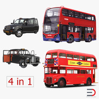 3d london bus taxi rigged model