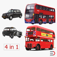 london bus taxi vehicle 3d 3ds