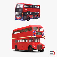3d model london buses simple interior
