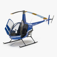 3d model of helicopter robinson r22 rigged
