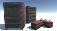 2 toolboxes 3d model