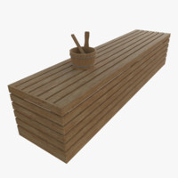 sauna bench 3d x
