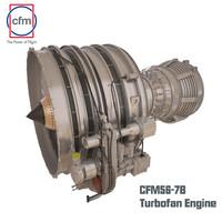 cfm56-7b engine complete 3d obj