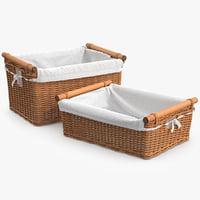 3d wicker laundry basket rattan model