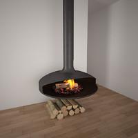 fireplace realistic wood 3d model