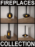 fireplaces metallic realistic 3d model