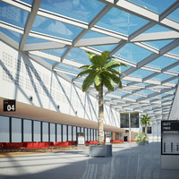 international airport departures lounge 3d max