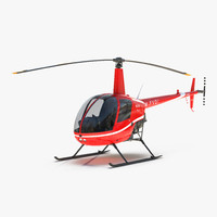 3d helicopter robinson r22 red model