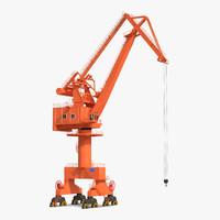 3d level luffing port crane model