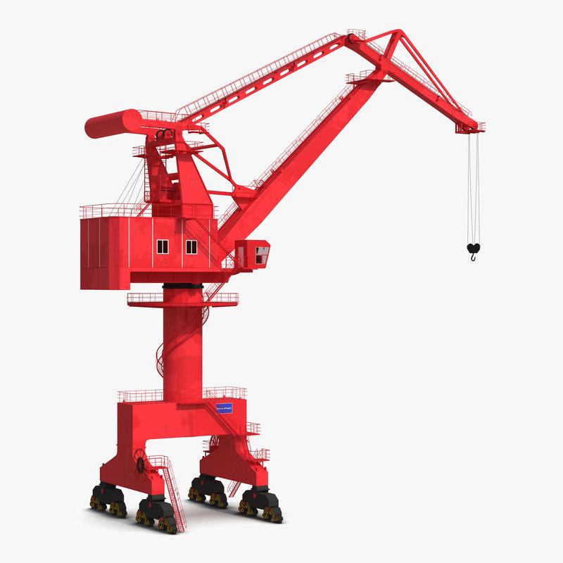 WQQ Port Conteiner Crane Red 3d model 001.jpg