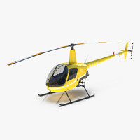 helicopter robinson r22 yellow 3d model