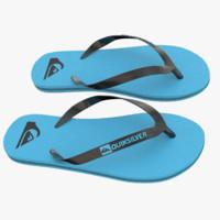3d model quiksilver molokai flip flops