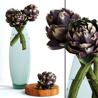 vase burgundy artichokes flowers plants 3d model