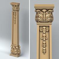 3d carved column model