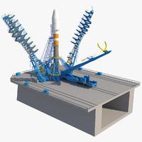 3d soyuz-2 launcher launch pad