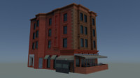 3d model of corner apartment building restaurant