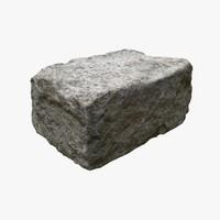3d stone block