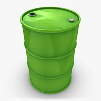 realistic oil barrel green 3ds
