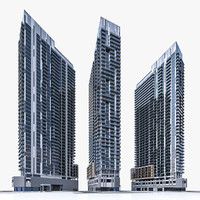 3d model high-rise residential building exterior