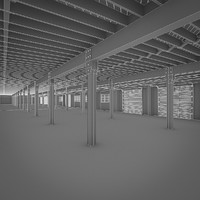 art deco industrial building 3d model