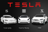 pack low-poly tesla s 3d model