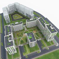 3d modern residential complex model