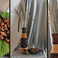 Decor with a vase and nuts