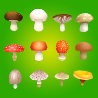 3d model mushrooms ready