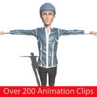 toon boy hat character animation 3d x