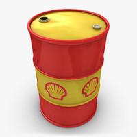 3d model realistic oil barrel shell