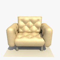 c4d leather comfy arm chair