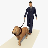 3d business man walking dog