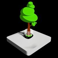 3d isometric toon tree