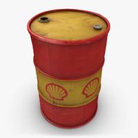 realistic oil barrel shell 3d 3ds