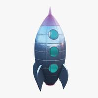 3d vintage rocket