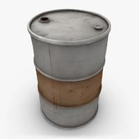 3d model realistic oil barrel gray
