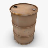 3d model of realistic oil barrel brown