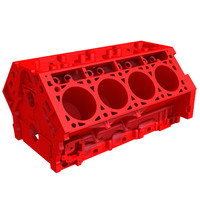 3d model print ready v8 engine