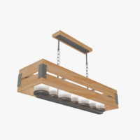 loft wooden box chandelier 3d max