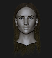 cute girl head 3d obj